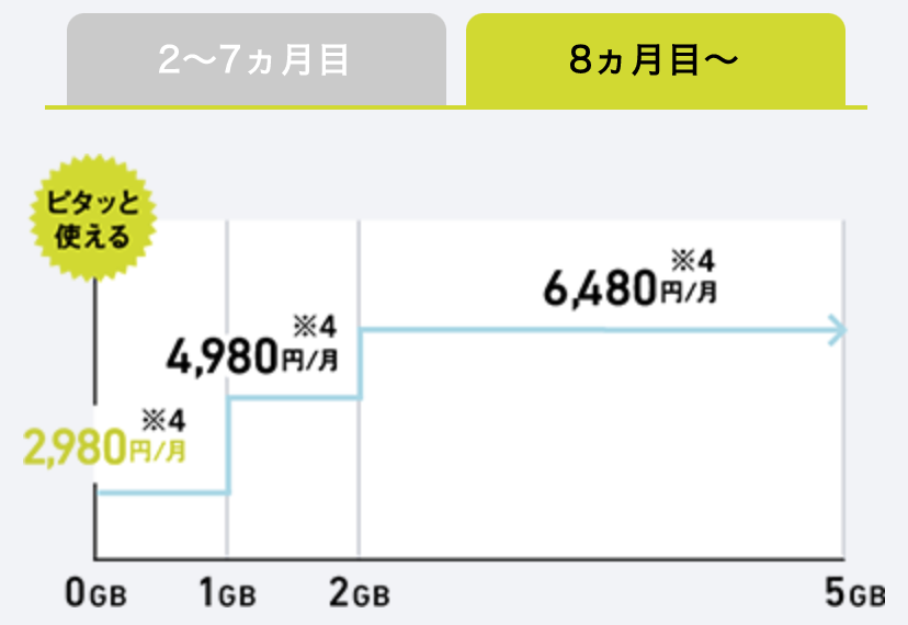 Softbank スマホ料金プラン8ヶ月目以降