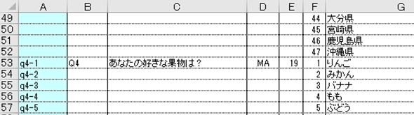 調査会社からのアンケートデータ 回答対応表の詳細
