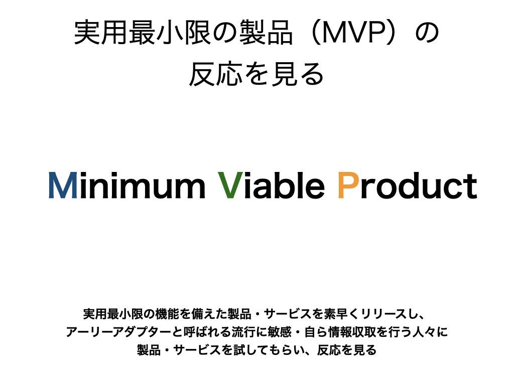 実用最小限の製品(MVP)を素早くリリースして反応を見る