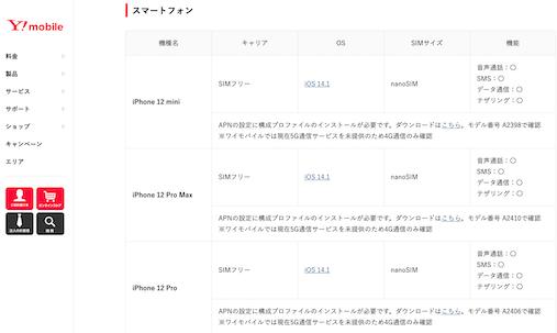 Y!モバイルのiPhone12シリーズ対応状況